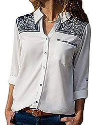 Honestyi Blusas y Camisas a Manga Larga para Mujer Camisetas y Botón Estampado Polos Casual Cuello V Top Verano Bodis