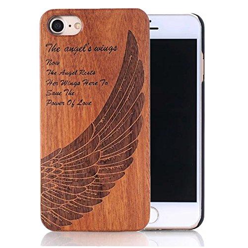 Coque iPhone 6s Plus, Sunroyal® Coque pour iPhone 6 Plus Bois Véritable + PC Bumper Dur Hard Housse Etui Hybride en Bois Naturel Sculpté Wood Case Cover de Protection pour Apple iPhone 6 Plus, iPhone  Bois-09