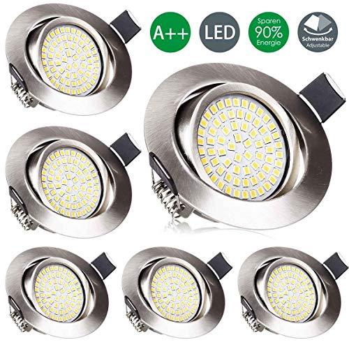 LED Einbaustrahler Set, Wenscha 6er ultra flach LED Einbauleuchten Schwenkbar Einbauspot Deckenspot, 3.5W Warmweiss 2800K LED Deckenstrahler mit integriertem Leuchtmittel