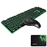 UrChoiceLtd Combo Wireless Ricaricabile Tastiera e Mouse Combo Resistenza all'acqua 2.4 GHz Verde / Blu Backlit e Wireless Soundless Mouse con Nano USB Receiver per PC Laptop Mac (Nero)