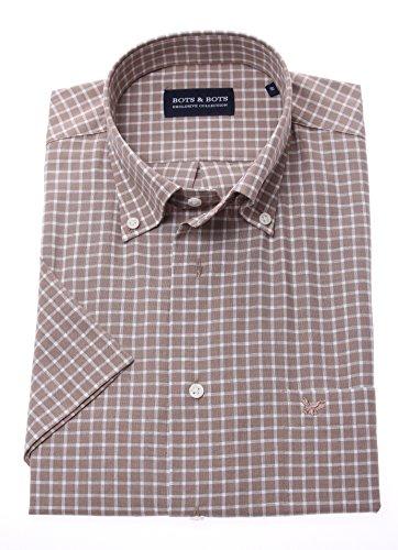 Bots & bots 178617-3xl camicia uomo - manica corta - 70% cotone / 30% lino - button down - normal fit