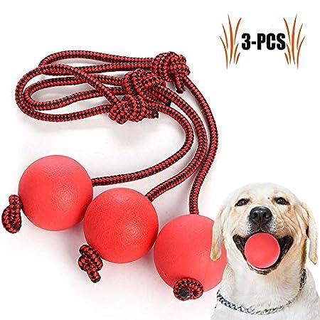 Legendog Wurfball Hund, 3 Stück Elastische Hundespielzeug Ball mit Seil | Naturgummiball Seil | Welpenspielzeug Hund…