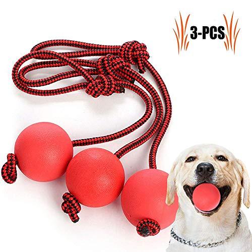 Legendog Wurfball Hund, 3 Stück Elastische Hundespielzeug Ball mit Seil | Naturgummiball Seil | Welpenspielzeug Hund | Kleine Hunde Spielzeug | Spielzeug für Hunde | für Kleine Hunde Welpen