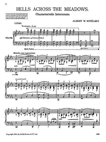 Albert Ketelbey: Bells Across the meadows (Glocken in der Ferne). Partitionen für Klavier