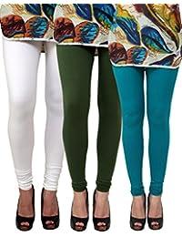 Anekaant Pack Of 3 Cotton Lycra Free Size Women's Legging -White, Dark Green, Light Green