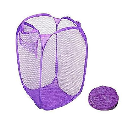 Panier à linge, pliable à linge de stockage organisation–en maille filet Sac à linge à laver–1PC–Priams 7, violet, (52x32x37)cm/(20.47x12.60x14.57)