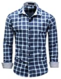 Pinkpum Homme Chemise en Coton à Carreaux Slim Fit Manches Longues Basic Business Loisirs M-3XL Bleu 2 XL