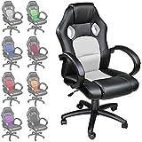 TecTake Chaise fauteuil siège de bureau hauteur réglable sportive - diverses couleurs au choix - (Blanc)