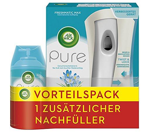 Air Wick Freshmatic Automatisches Duftspray, Pure Frühlingsfrische, Starter-Set inkl. Nachfüller + 2. Nachfüller gratis, 2x250ml