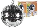 HQ Power VDL20MB 200mm Espejo esfera giratorio discoteca - Accesorio de discoteca (Espejo, Plata, 20 cm, 750 g)