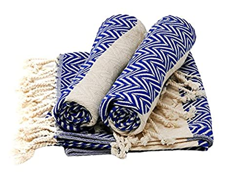 Set of 3Turban Towel Hamam Sauna/Bath Towel Peshtemal Big Zig Zag blue