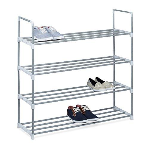 Relaxdays Schuhregal HBT: ca 93 x 90 x 30cm Schuhschrank aus pulverbeschichtetem Metall mit 4 Ablagen als Schuhkommode und Schuhaufbewahrung beliebig erweiterbar Schuhablage für 16 Paar Schuhe, silber (Schrank Regal Metall 4)