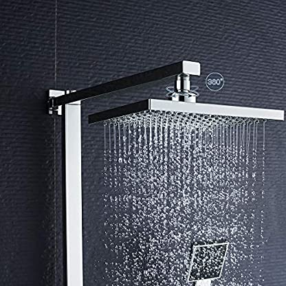 "512FYWMotvL. SS416  - Auralum Columna ducha, 8"" Conjunto de ducha barra con ducha mango + alcachofa ducha lluvia cuadrada + perillas mezclador para ducha de baño en latón"