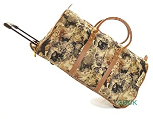 Tapestry canvas Weekend Travel/Flight/Overnight wheeled Holdall Bag with retractable handle (Cats) - Gobelin Style