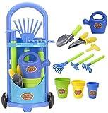 Kids Gardening Trolley Play Set Garden Hand Tools Toy Watering Can Spade Rake (Toy)