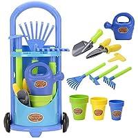 Kids Gardening Trolley Play Set Garden Hand Tools Toy Watering Can Spade Rake