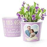 13. Hochzeitstag Geschenk – Blumentopf (ø16cm) | Geschenkidee zur Veilchenhochzeit für Mann oder Frau mit Herz Bilderrahmen für 1 Foto (10x15cm) | Glücklich Verheiratet - 13 Jahre