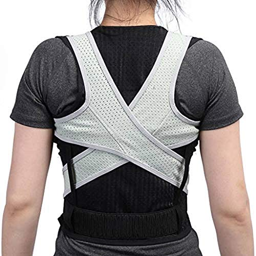 WENZHEN Schulterstütze, Haltungskorrektur Haltungstrainer Unisex-Studenten Rücken Korsett Wirbelsäulenkorrektur Orthopädische Schulterstützen @ L_Gray_Black