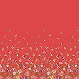 Soimoi Orange Satin Seide Stoff Blätter und Blumen Platte