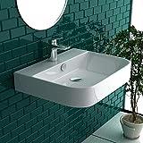 Gäste WC Waschbecken Weiß Keramik Waschtisch Aufsatzbecken Mini Handwaschbecken mit Überlauf   WC-Waschbecken Waschschale klein Hängewaschbecken Wandmontage, Badezimmer Eckig Italienisches Design