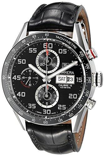 TAG Heuer Carrera Herren-Armbanduhr 43mm Armband Leder Schwarz Gehäuse Edelstahl Automatik CV2A1R.FC6235