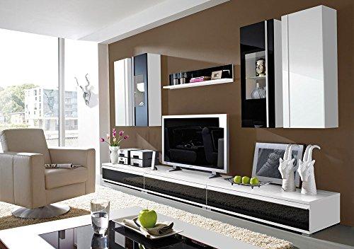 8-tlg. Wohnwand in weiß mit Abs. in Schwarzglas 2 Hängeschränke, 1 Wandregal, 2 Hängevitrinen, 3 TV-Unterschränke, Mindestmaß: B/T ca. 294/54 cm