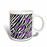 3dRose Zebra Print withPurple Butterflies Ceramic Mug, 15-Ounce