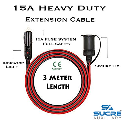 12–24V 15A Alimentación de servicio pesado motocicleta encendedor de cigarrillos del coche Socket Plug Extensión Cable de 3M