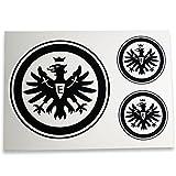 Unbekannt Eintracht Frankfurt Aufkleber, Aufkleberset, Sticker Logo Schwarz 3er - Plus Gratis Lesezeichen I Love Frankfurt