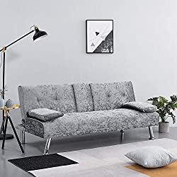Wellgarden Modern 3 Seater Sofa Bed Crushed Velvet Sofa Couch Settee Sleeper Sofa with Cup Holders and Cushions for Living Room