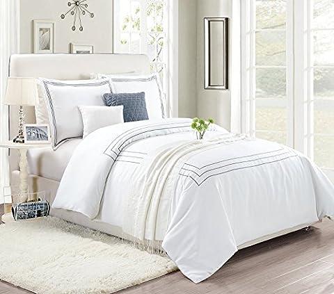 Super weiches Bettwäsche-Set gebürstete Mikrofaser Bettbezug und Kissen von Imperial Rooms, gesteppte Bezüge Einzelbett Doppelbett King-Size-Bett, Grey Embroidered, (Ge Quilt Designs)
