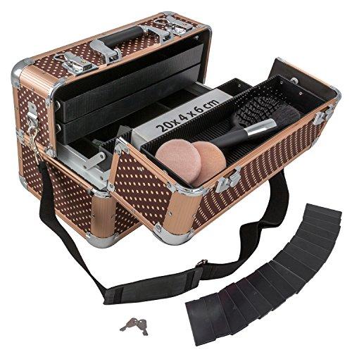 anndora Beauty Case Kosmetikkoffer Schmuckkoffer 21 Liter Alu braun mit Punkten - 7