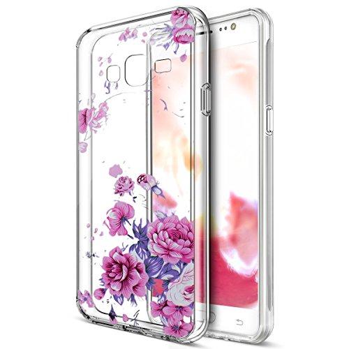 Kompatibel mit Galaxy J2 Prime Hülle,Bunte Gemalte Mandala Blumen Transparent TPU Silikon Handyhülle Tasche Silikon Case Durchsichtig Schutzhülle für Galaxy J2 Prime G532,Lavendel Pfingstrose Blumen