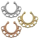 KULTPIERCING - Nasenpiercing Septum Clicker Fake Rose Gold