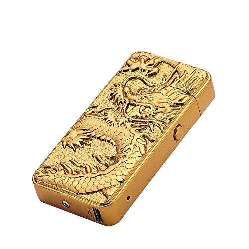 Aokvic USB Elektronisches Feuerzeug aufladbar lichtbogen (Gold Drache)