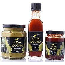 Lava Jolokia Trio mit der schärfe-Weltrekord-Chili Bhut Jolokia - Hot Sauce, Senf und Jam - optimal für Scharfesser