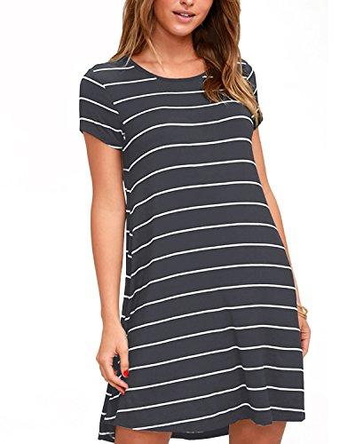 SUNNYME Shirtkleider Damen Sommerkleider Minikleid Beiläufige Gestreifte T-Shirt Kleider Lang Shirts Lose Sitz A-Linie A-Grau EU36-38