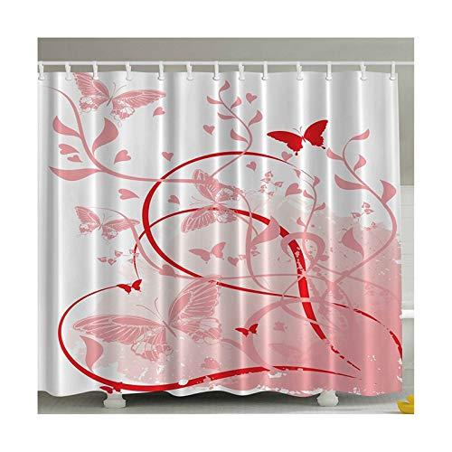 AMDXD Tende da Doccia per Il Bagno Poliestere Tenda da Bagno Rosso Stile 1 Farfalla Tenda della Doccia 120X180CM