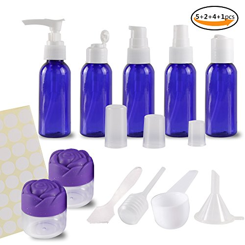 Teenitor 12 pcs Travel Bottles Set, 50ml Empty Air Flight Travel Bottle Toiletries Liquid Containers Refillable Leakproof Plastic Sample Containers for Shampoo Lotion Conditioner with Storage Bag Blue