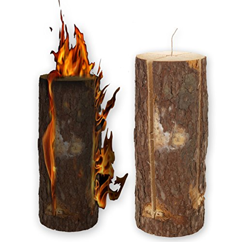 50cm-wooden-swedish-fire-log-candle-torch-garden-lantern-campfire-light-bbq