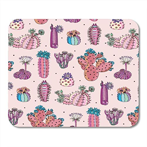 HOTNING Gaming Mauspads, Gaming Mouse Pad Green Desert Cactus Flowers Pattern Pink Abstract Arizona Blossom 11.8