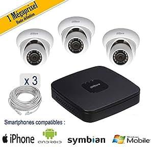 Nova ip - Kit vidéosurveillance 3 caméras dômes, IP, 1MP, IR 20M