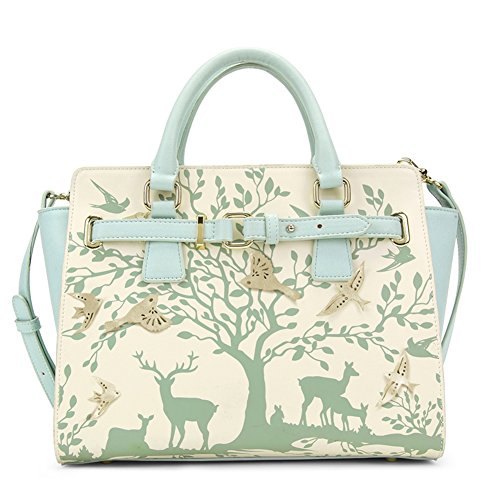 oneworld-women-fashion-green-white-colored-forest-theme-double-tote-clutch-travel-shopping-handbag