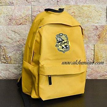 Hufflepuff, bestickter beiger Rucksack mit Hufflepuff-Emblem, Harry Potter Hogwarts