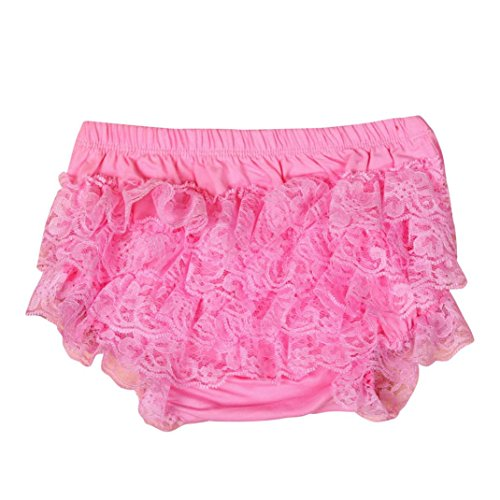 XXYsm Baby Mädchen Schichten Spitzen Trainerhosen Unterwäsche Höschen Solide Lace Kleid Rüsche Hose Pumphose Windel Decken (Rosa, 6-12 Monate)