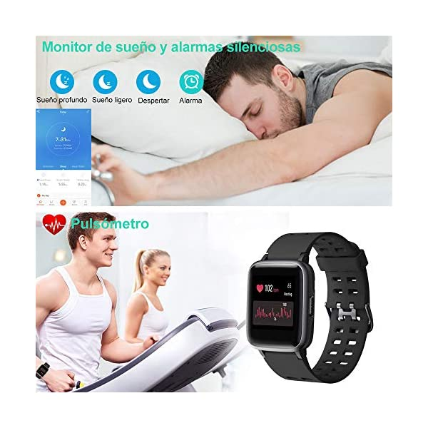 Willful Smartwatch Impermeable Reloj Inteligente con Pulsómetro, Pulsera Inteligente para Deporte con Cronómetro, Podómetro. Smartwatch Hombre Mujer Niños para Android iOS Xiaomi Huawei iPhone 4