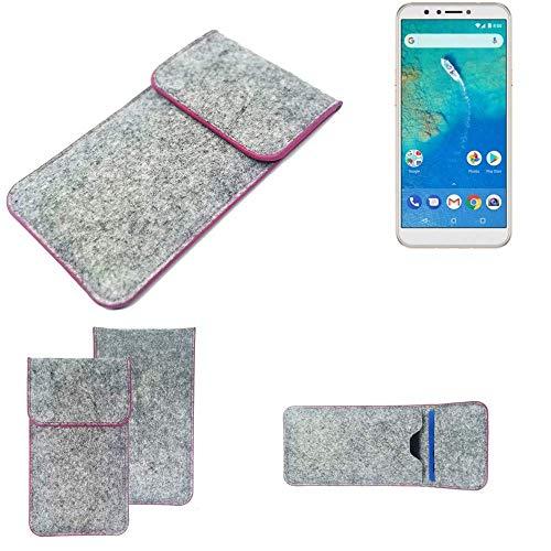 K-S-Trade® Filz Schutz Hülle Für -General Mobile GM 8- Schutzhülle Filztasche Pouch Tasche Case Sleeve Handyhülle Filzhülle Hellgrau Pinker Rand