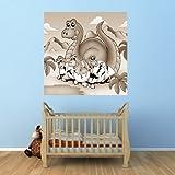 Vlies Fototapete - Dino Kindertapete - Mama mit Baby - sephia - Sepia - 50x50 cm - mit Kleister - Foto auf Tapeten - Wandtapete – Vliestapete – Wanddeko