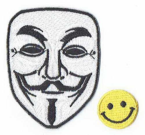 Patch Cube V for Vendetta MASK Applique Bestickt Eisen auf Patches (Wappen, ワッペン, 패치) with Yellow Tiny Smiley Patches by -