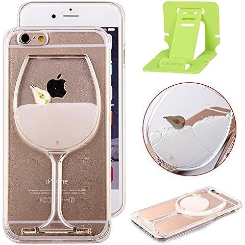 Funda iPhone 6s,Ekakashop Funda Quicksand Flowing Liquido para iphone 6,3D Diseño creativo Vaso de Vino Pera Pintura de lujo que fluye líquido flotante del brillo de cristal rojo de labios Tacones altos Borrar Volver Transparente Silicona TPU Funda para Apple iphone 6 6s 4.7'' + pata de cabra (color al azar)
